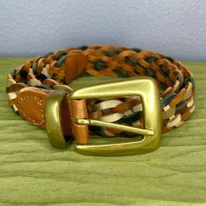 Braided Leather Belt Brown, Gray, Blue Multi-color